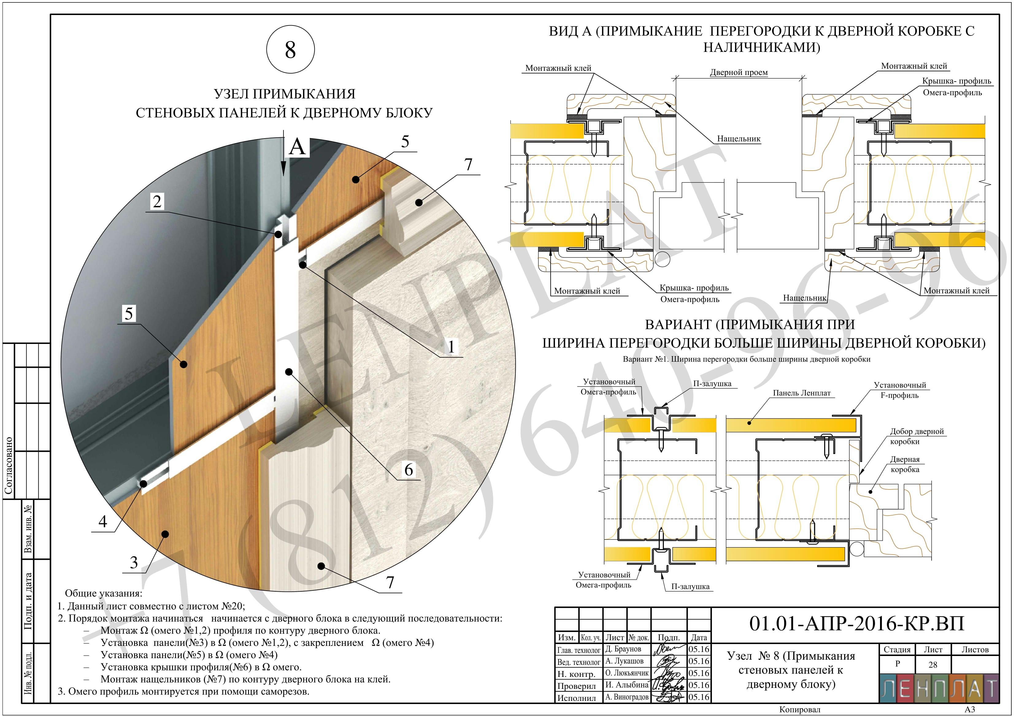узел примыкания стеновых панелей к дверному блоку